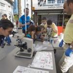 Juan Antonio Canales, técnico del Instituto de Ciencias Marinas  (ICMAN-CSIC), con muestras ictiológicas para que el público las vea a través del microscopio óptico durante la celebración de la Feria de la Ciencia 2015 de Jerez