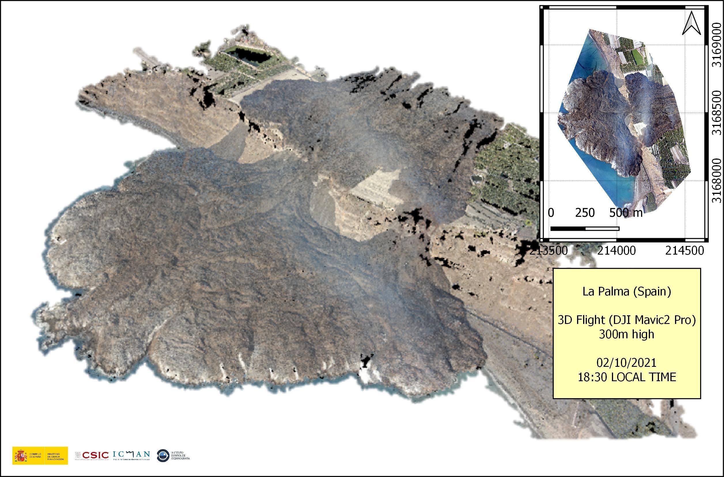 Vuelo realizado con DJI Mavic 2 Pro el sábado 02/10/2020 a las 19:50 volando a diferentes alturas, con el objetivo de dimensionar y cubicar el delta de lava.